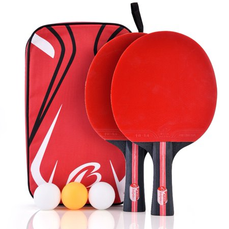 Boliprince Ping Pong Paddle 2-Player Table Tennis Racket w/ 3 Balls For Shake-hand Grip Players