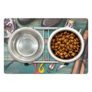 """Fishing Theme Pet Mat for Food and Water, Rustic Concept Wooden Table with Angling Objects Like Hooks Rod and Hats, Non-Slip Rubber Mat for Dogs and Cats, 18"""" X 12"""", by Ambesonne"""