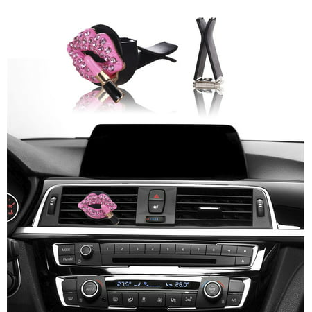 MINI-FACTORY Bling Car Interior Accessories Air Vent Rhinestone Diamond Decoration - Pink Lipstick ()