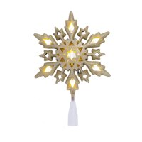 Holiday Time 10 UL 10in LED Gold Frosted Snowflake Tree Topper