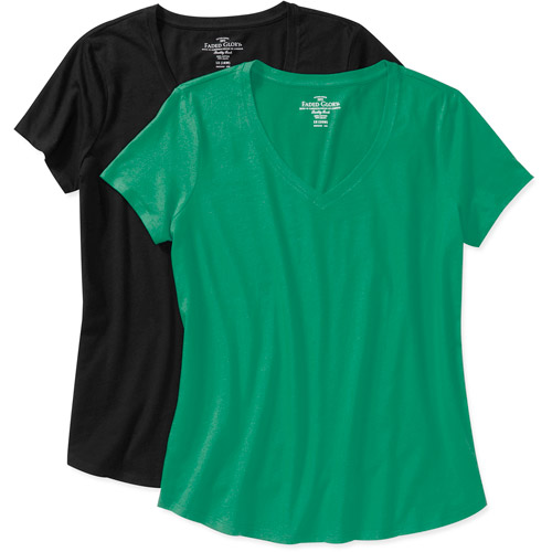 Faded Glory Women's Plus-Size Vneck Tee, 2-Pack