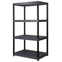 PLANO MOLDING CO Shelving Unit, 4 Shelves, Heavy-Duty Plastic, Black, 24 x 36 x 61.5-In. 952404