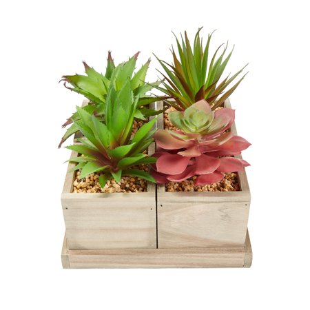 Pure Garden Faux Succulents – Assorted Lifelike Plastic Greenery Arrangement with Decorative Wooden Boxes (4 in 1 Set) ()