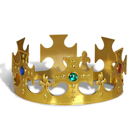 Club Pack of 12 Plastic Jeweled Gold King's Crown Adjustable Party - Gold Party Hats