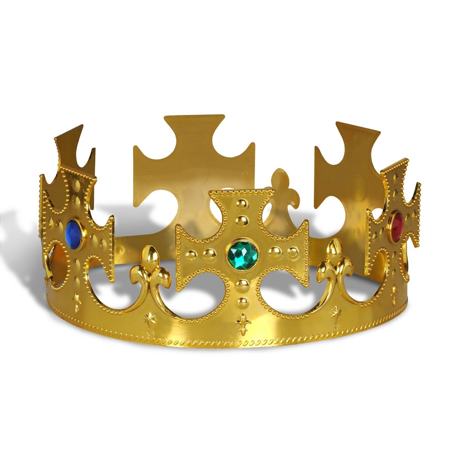 Club Pack of 12 Plastic Jeweled Gold King's Crown Adjustable Party Hat