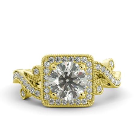2.02 ct Round C&C Brilliant Moissanite & Diamond Vintage Engagement Ring 14k Yellow Gold