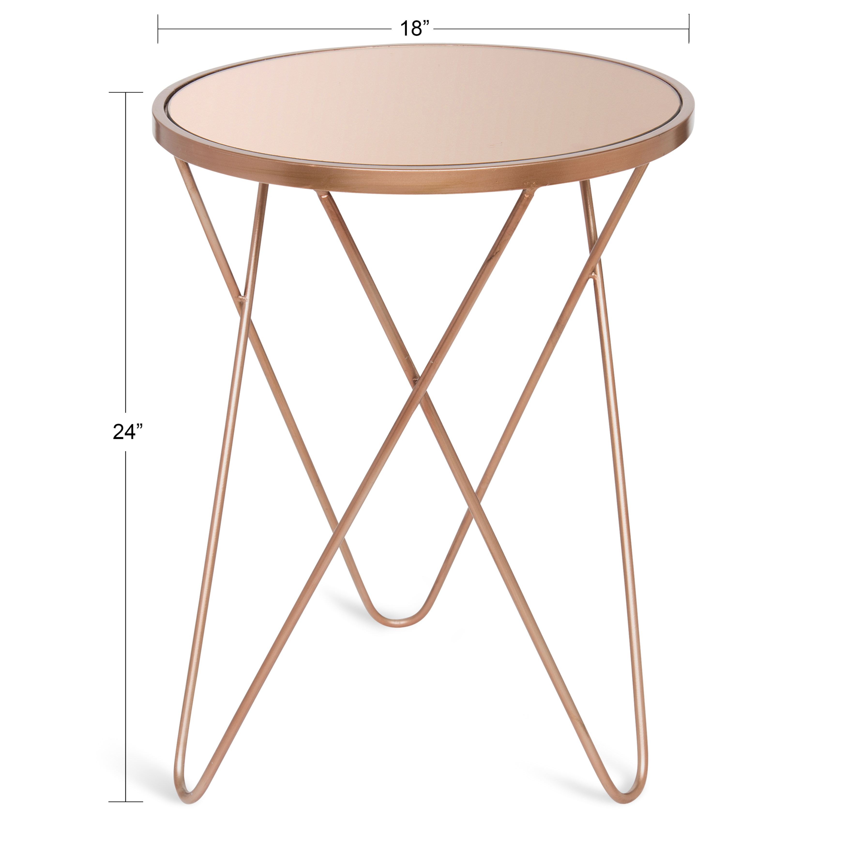 - Kate And Laurel Calcutta Round Metal Accent Table With Tinted Mirror Top,  Rose Gold - Walmart.com - Walmart.com