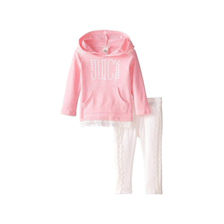 Women In School Girl Outfits (Juicy Couture Girls 4-6X Hooded Lace Legging Set (Pink)
