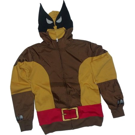 Marvel X-Men Wolf Wolverine Adult Brown Costume Hoodie Sweatshirt (Adult X-men Costumes)