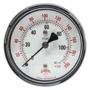 WINTERS PLP346 Low Pressure Gauge, Back,0 to 200 in H2O G4321156