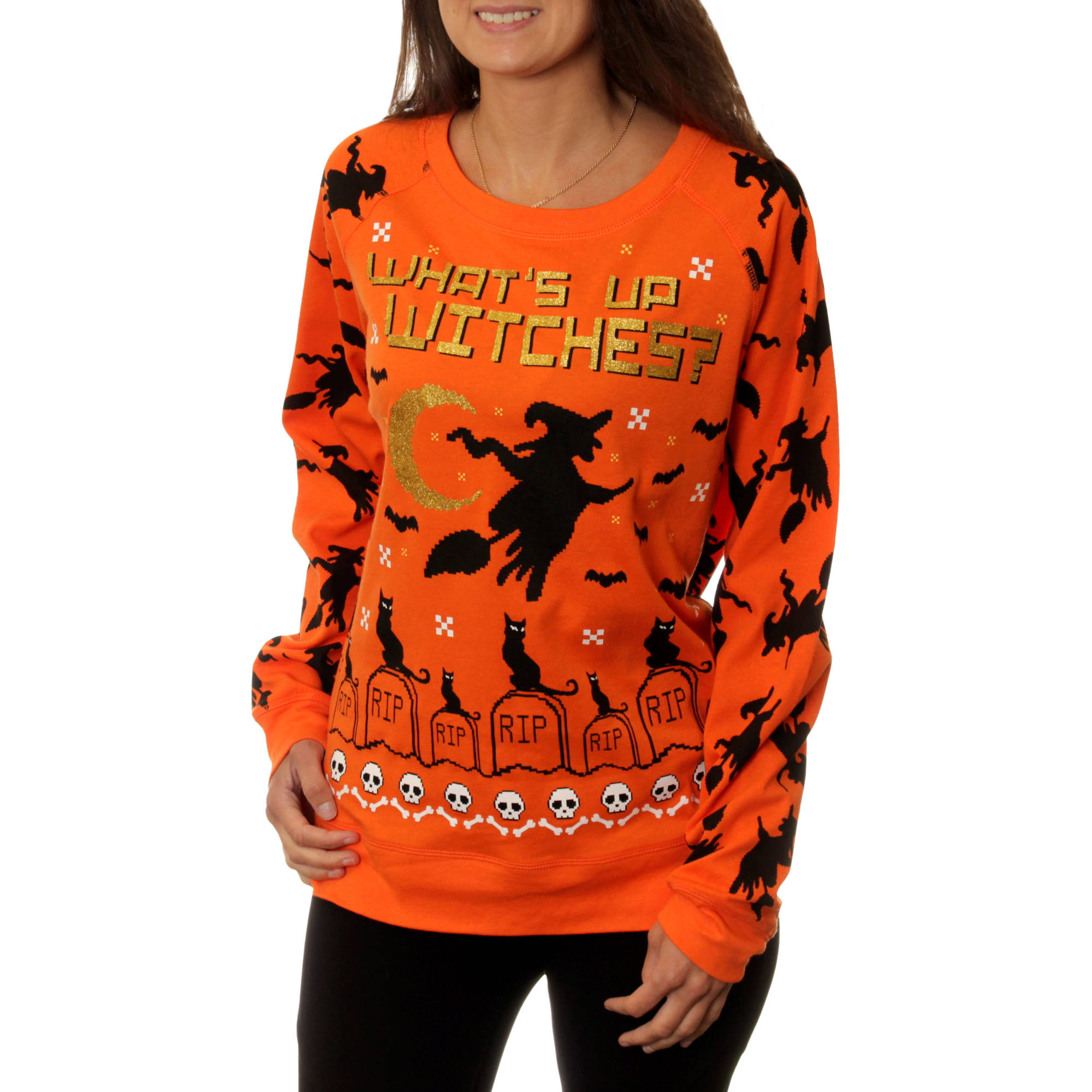 "Juniors' ""What'S Up Witches"" Halloween Graphic Pullover"