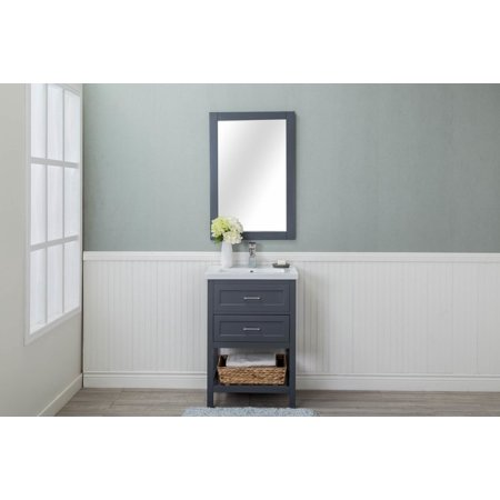 Cabinet Mania Grey Shaker 2 Drawer Bathroom Vanity w/ Ceramic Top 24