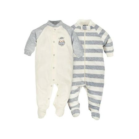 Newborn Baby Boy or Girl Unisex Organic Zip Front Sleep 'N Play, 2-pack