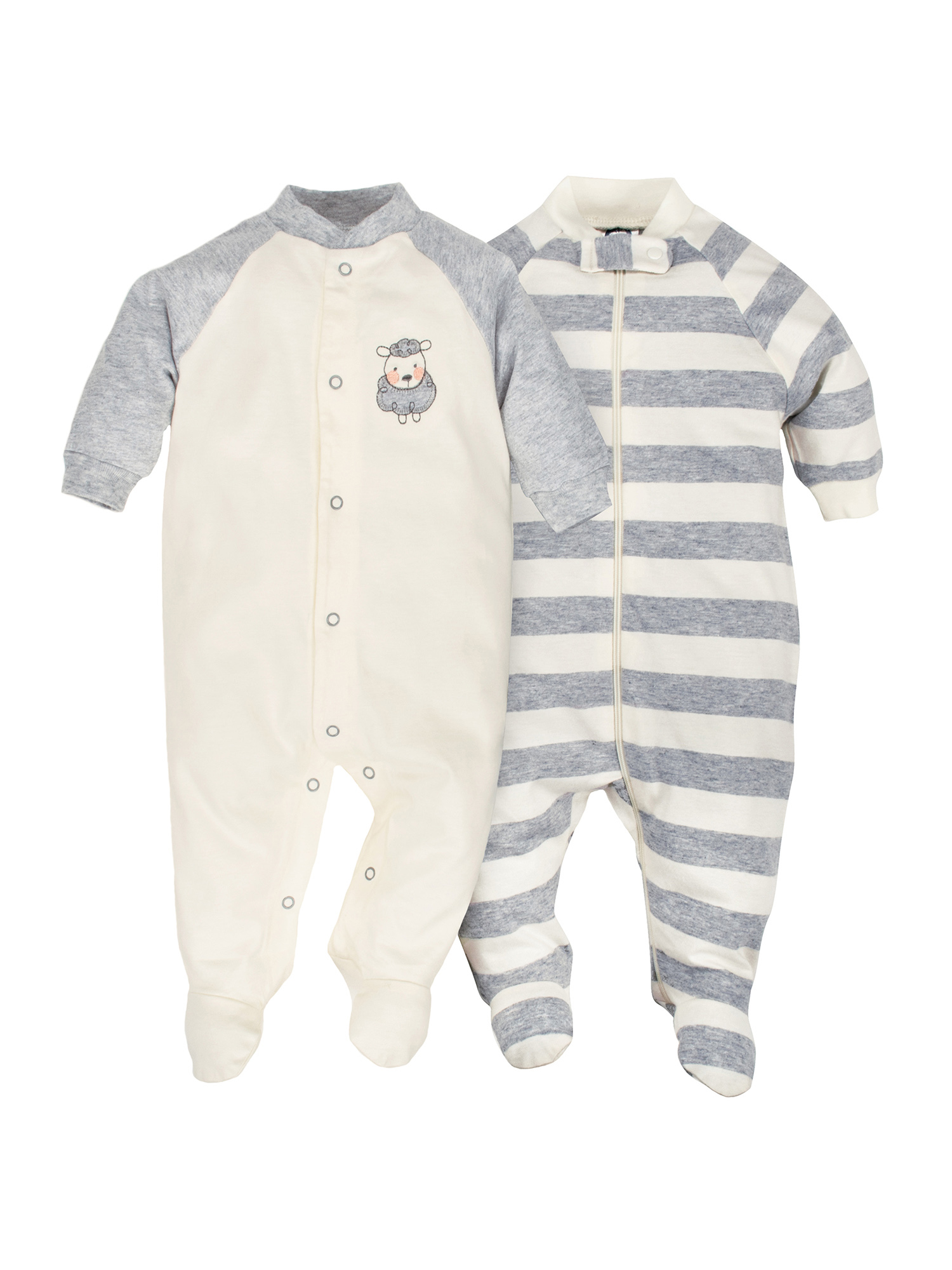 Newborn Baby Boy or Girl Unisex Organic Zip Front Sleep 'N Play, 2-pack