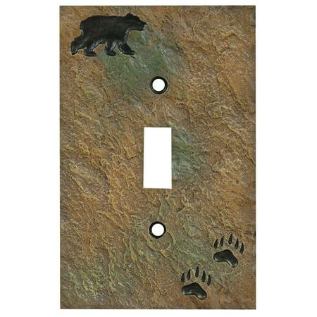 Bear Stone Finish Lodge Single Switch Cover - Lodge Decor