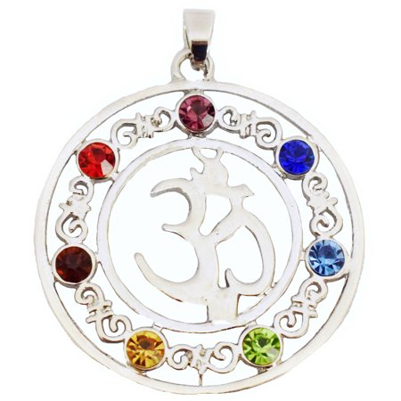 7-Stone Chakra Healing Point Rieki Bead Gemstone Pendant Fit Necklace Crystal Glass OM Symbol by Donna Bella, QNE32401 - Gold Glass Beaded Necklace
