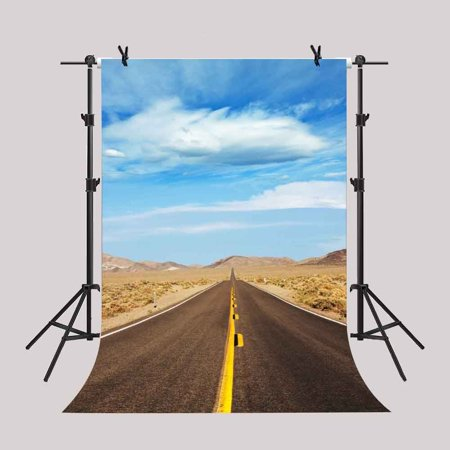 GreenDecor Polyester Fabric 5x7Ft Road Trip Backdrop Blue Sky Desert Western Highway Travel Background Video Props Studio - Western Prop