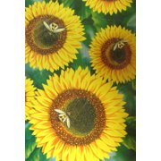 Sunflower with Bees Summer Garden House Flag