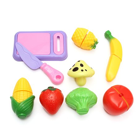 Developmental Play Food - Pretend Food Kitchen Play Set for Kids Cutting Fruits and Vegetables Play Food Kitchen Toys 9Piece Educational Toy