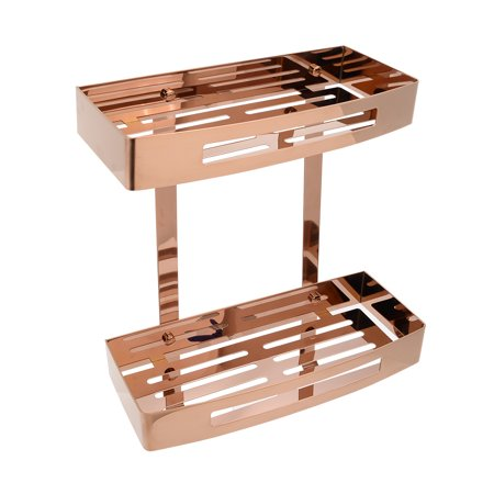Uxcell 304 Stainless Steel 12-inch Wall Mount Two-Tier Bathroom Shower Basket Rose Gold