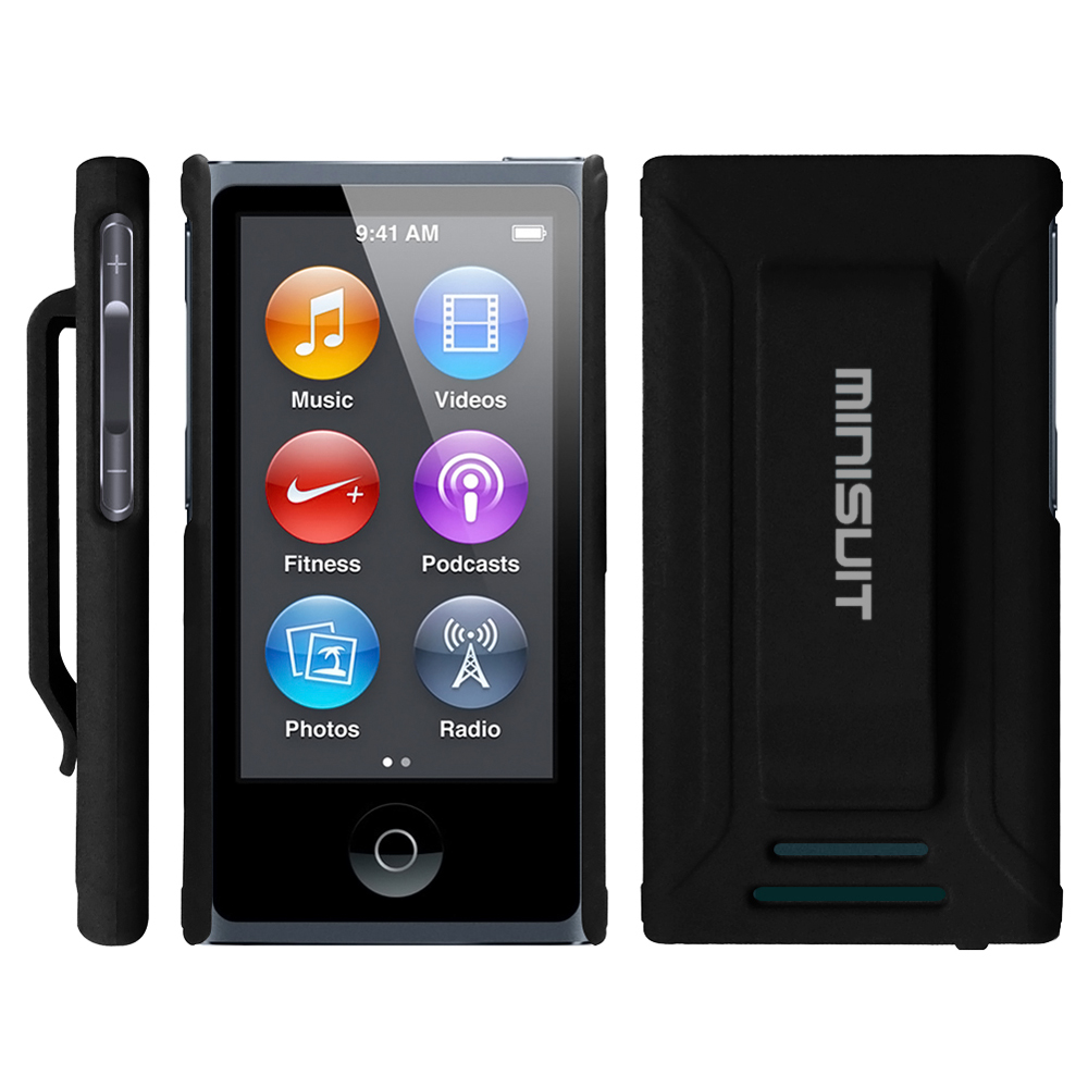 Minisuit JAZZ Slim Shell Case with Belt Clip   Screen Protector for iPod Nano 7 or 8 / 7th or 8th Gen (Rubberized Black)