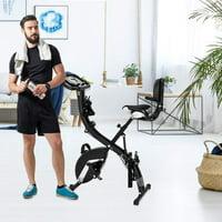 Folding Exercise Bike, SEGMART Recumbent Upright Exercise Bike with Adjustable Arm Resistance Bands, Stationary Bike with 8 Resistance Levels, Exercise Equipment for Indoor, 260lbs, Black, S13528