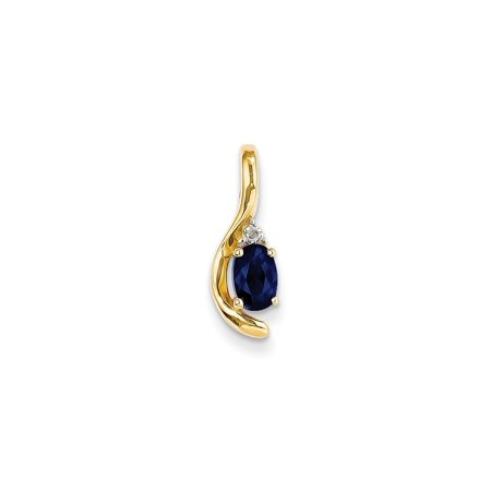 14k Yellow Gold Diamond Sapphire Pendant Charm Necklace Gemstone Birthstone September Set (Gold Diamond Seashell)