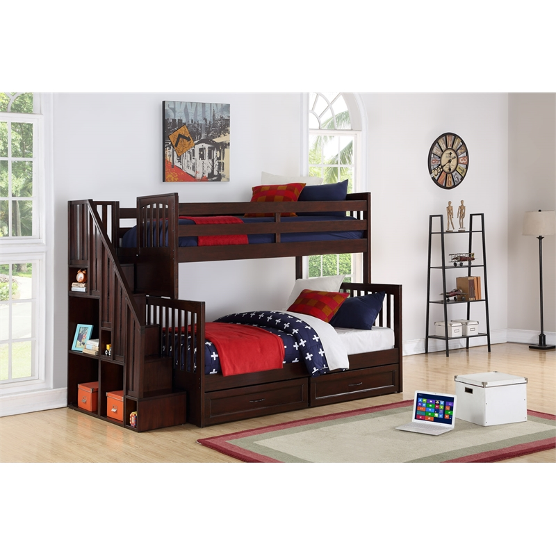 Rosebery Kids Staircase Twin Over Full Bunk Bed with ...