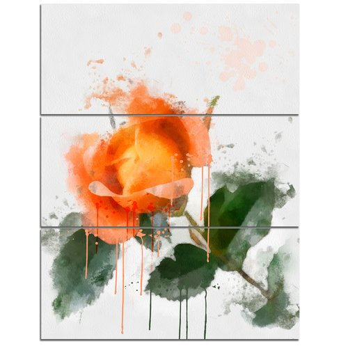 Design Art 'Orange Rose Sketch Watercolor' 3 Piece Painting Print on Wrapped Canvas Set
