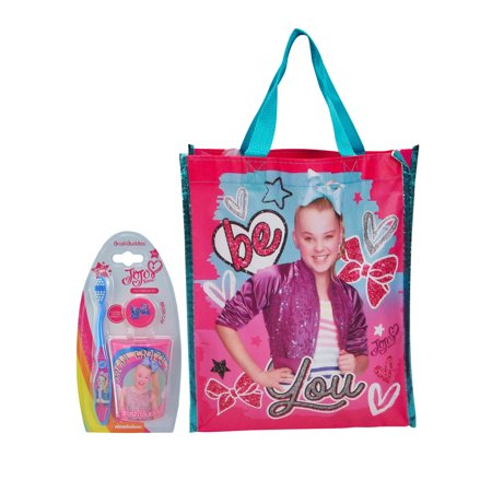 JoJo Siwa Toothbrush Cap and Cup 3-Piece Set & Be You Non-woven Tote Bag (Bdl Bag)