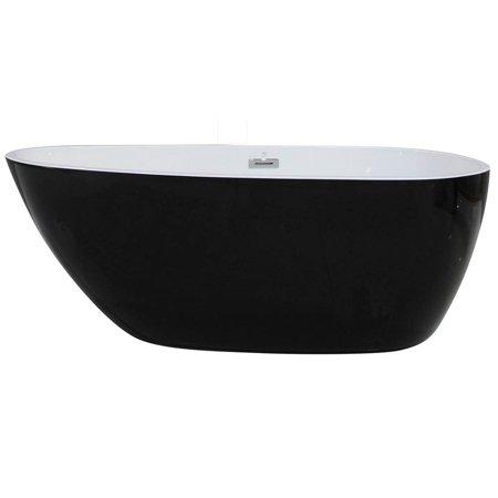 59 in. Oval Acrylic Soaking Tub in -