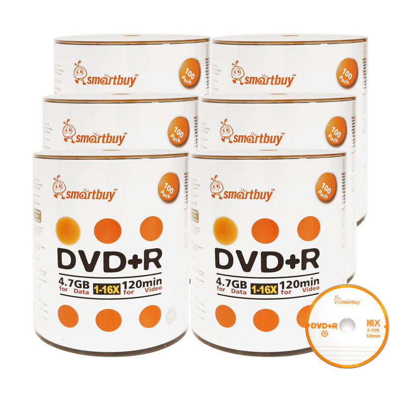 600 Pack Smartbuy 16X DVD+R DVDR 4.7GB Logo Top (Non-Printable) Data Video Blank Recordable Disc