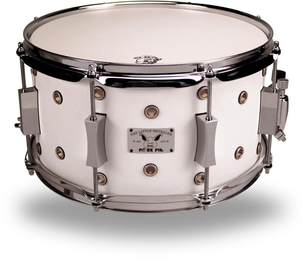 Pork Pie Little Squealer Maple Birch Vented Snare Drum 13 x 7 White Satin by Pork Pie