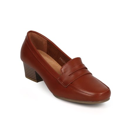 New Women Refresh Freda-01 Leatherette Square Toe Kitten Heel Penny Loafer Size
