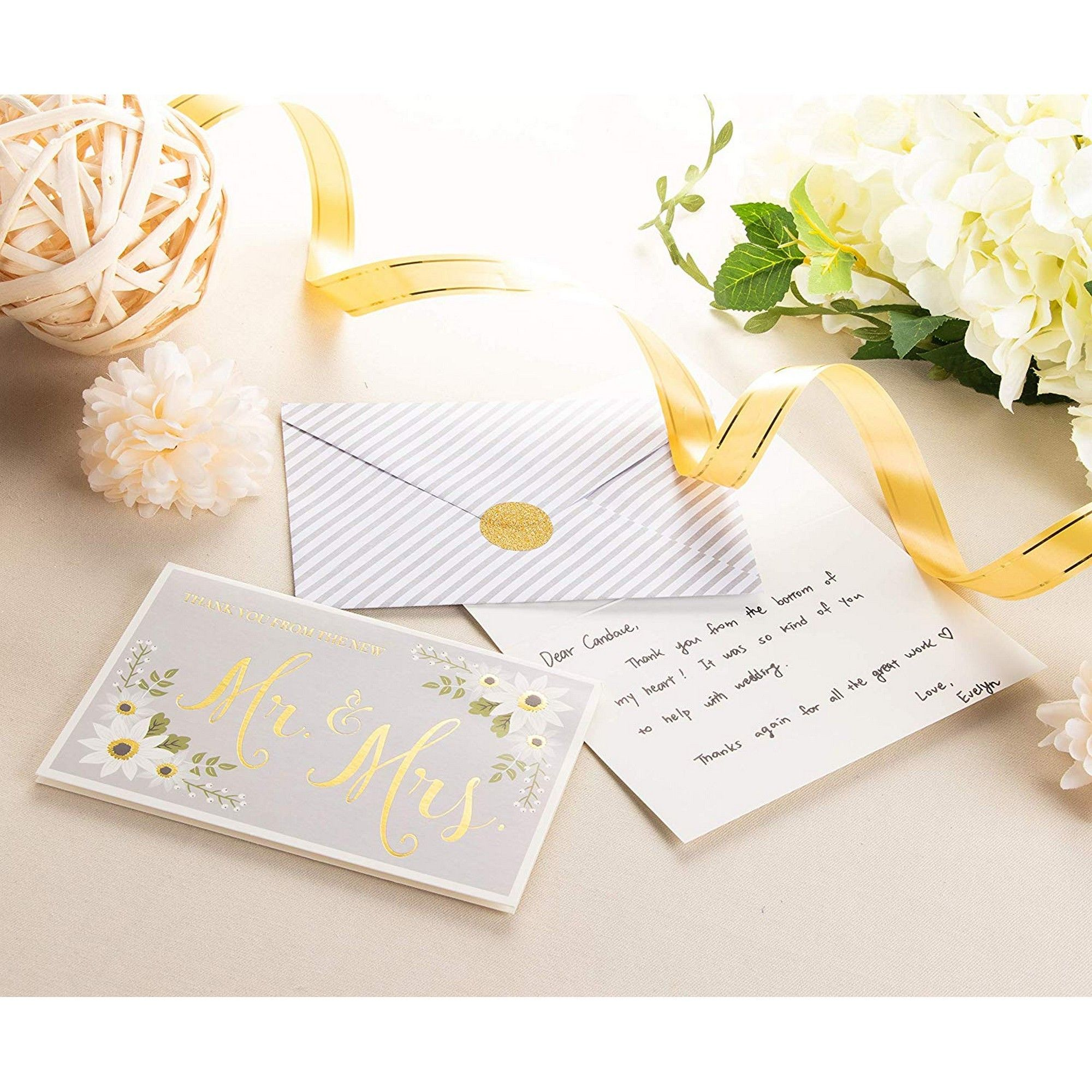 Gold Foil and Flower Design 4 x 6 Inches 48-Pack Thank You from The New Mr Greeting Card Bulk Thank You Note Cards and Envelopes Stationery Set Wedding Thank You Cards and Mrs