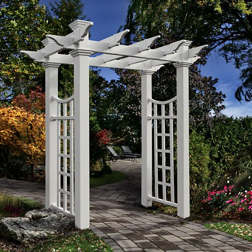 New England Arbors Fairfield Deluxe 7.75-ft. Vinyl Pergola Arbor by New England Arbors