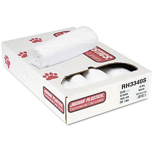 Jaguar Plastics Super Extra-Heavy Bags, 33 gal, 25 sheets, 250 ct