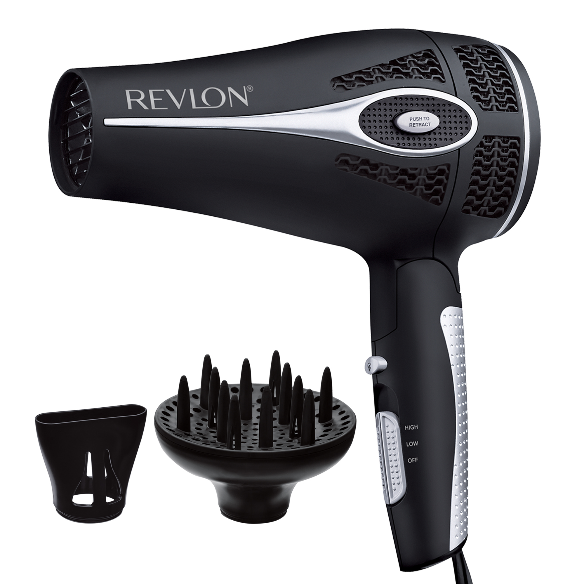 Revlon Pro Collection Style and Go Retractable Cord Folding Handle Hair Dryer, Black