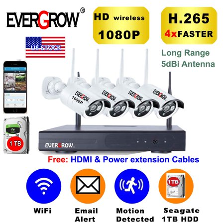 Advanced H265+ Technology Wireless 4CH 1080P NVR Wireless Wifi Outdoor IR Night Vision Home Security Camera System With 1TB Hard Drive (CAM-WIFI-4CH-2MP)