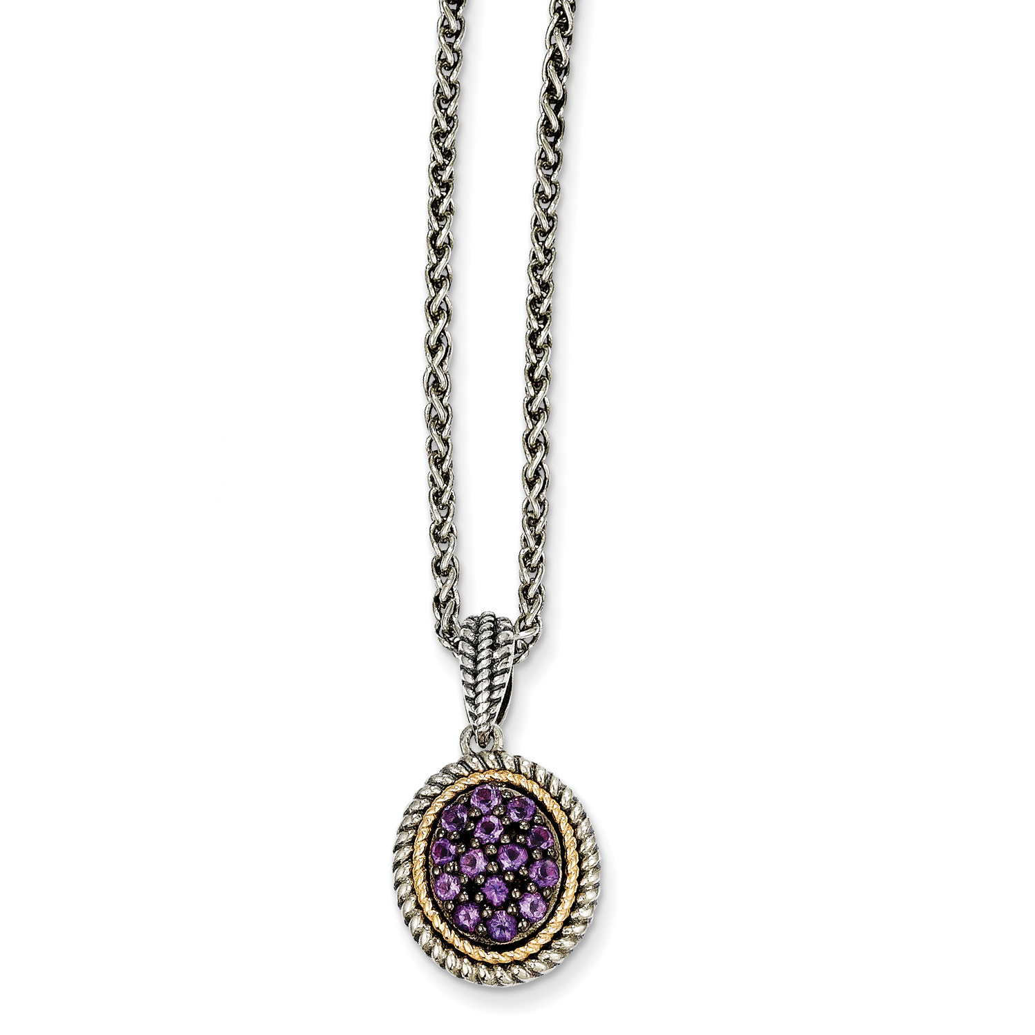 Sterling Silver w 14k Amethyst Necklace by Saris and Things QG