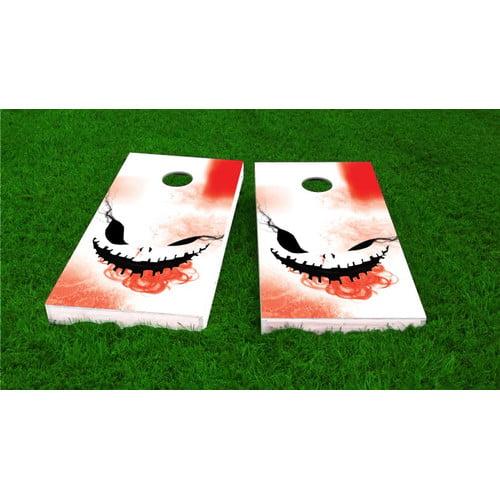 Custom Cornhole Boards Creepy Face Halloween Theme Light Weight Cornhole Game Set by Custom Cornhole Boards