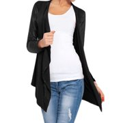 Women Open Front Draped PU Panel Asymmetric Hem Cardigan Black XS