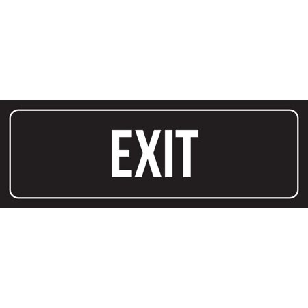 Black Background With White Font Exit Outdoor & Indoor Office Plastic Wall Sign, 3x9 Inch