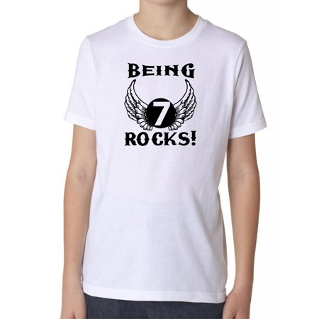 Being 7 Rocks! - Angel Wings Rock & Roll - Birthday Boy's Cotton Youth T-Shirt - Rock And Roll Birthday
