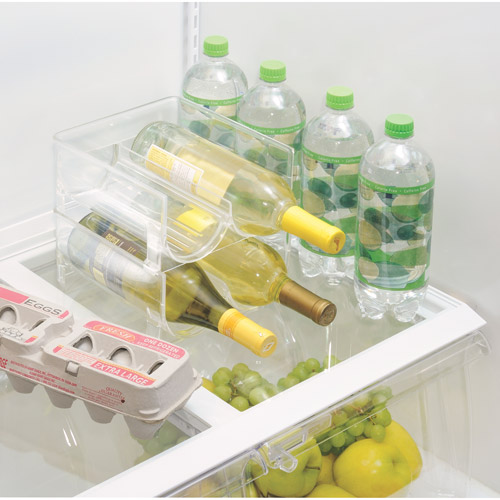 InterDesign Stackable Wine Storage Rack for Refrigerator, Kitchen Countertops, Holds 2 Bottles, Clear