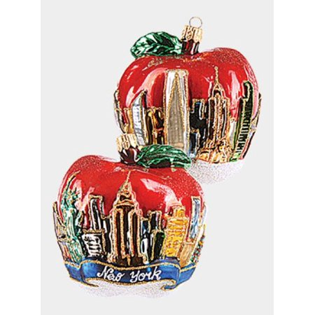 New York City Figural Apple Polish Glass Christmas Ornament NYC Decoration USA](Pool City Christmas Decorations)