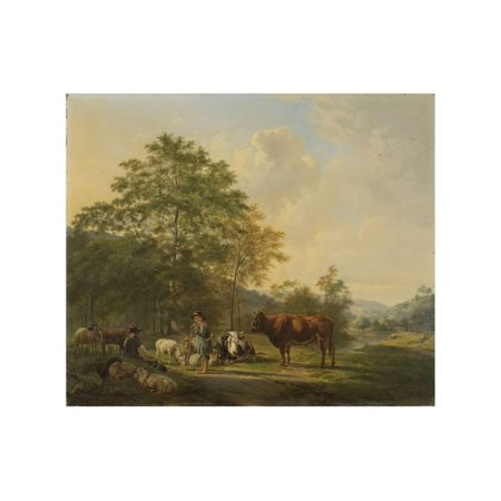 - Hilly Landscape with Shepherd, Drover and Cattle Print Wall Art By Pieter Gerardus van Os