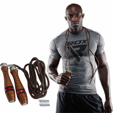 Weighted Leather (RDX Adjustable Leather Gym Skipping Jump Speed Rope Weighted Fitness Training Workout)