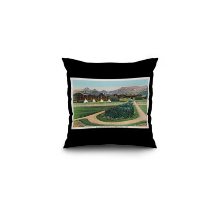 Glacier Natl Park  Montana   Exterior View Of The Glacier Park Hotel  16X16 Spun Polyester Pillow  Black Border