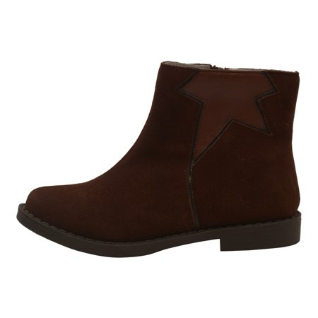 Girls Brown Star Cut Out Leather Lined Ankle Boots 11-4 Kids Cut Out Ankle Boots